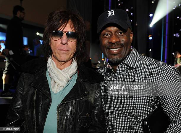 Musician Jeff Beck and singer BeBe Winans pose during 2011 MusiCares Person Of The Year Tribute To Barbra Streisand rehearsals at Los Angeles...