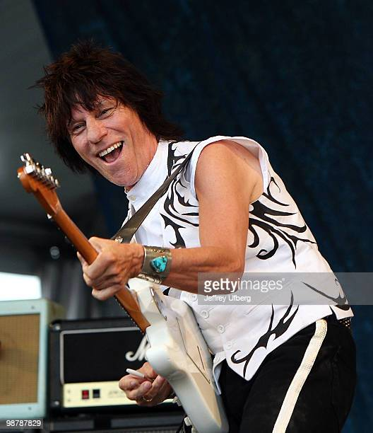 Musician Jeff Beck performs during day 6 of the 41st annual New Orleans Jazz Heritage Festival at the Fair Grounds Race Course on May 1 2010 in New...