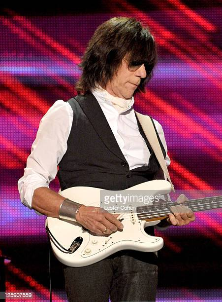 Musician Jeff Beck performs onstage at 2011 MusiCares Person of the Year Tribute to Barbra Streisand at Los Angeles Convention Center on February 11,...