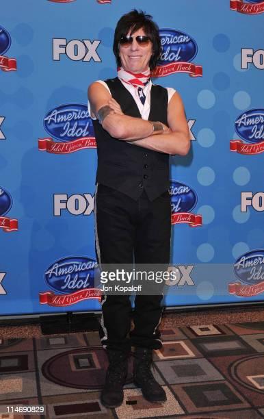 Musician Jeff Beck poses at Idol Gives Back 2010 at Pasadena Civic Center on April 21, 2010 in Pasadena, Texas.