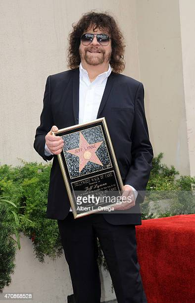 Musician Jeff Lynne is honored on The Hollywood Walk Of Fame on April 23 2015 in Hollywood California