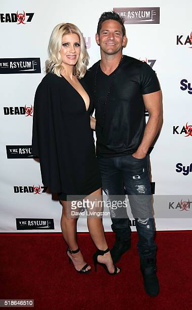 """Musician Jeff Timmons and wife Amanda Timmons attend the premiere of Syfy's """"Dead 7"""" at Harmony Gold on April 1, 2016 in Los Angeles, California."""