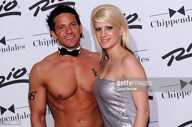Musician Jeff Timmons of 98 Degrees appears with his wife Amanda Timmons as he arrives to perform with the Chippendales show at the Rio Hotel Casino...