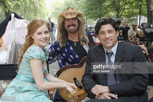 Musician Jeff Watson actress Amy Adams and actor Patrick Dempsey appear on set during the filming of Walt Disney Pictures Enchanted in Central Park...