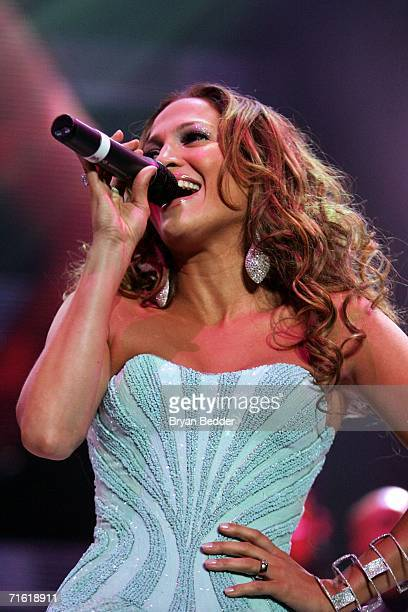 Musician Jennifer Lopez performs live on stage during the Juntos Tour concert at Madison Square Garden on August 9 2006 in New York City