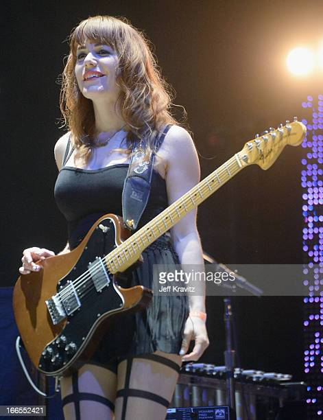 Musician Jenny Lewis of The Postal Service performs onstage during day 2 of the 2013 Coachella Valley Music And Arts Festival at the Empire Polo Club...