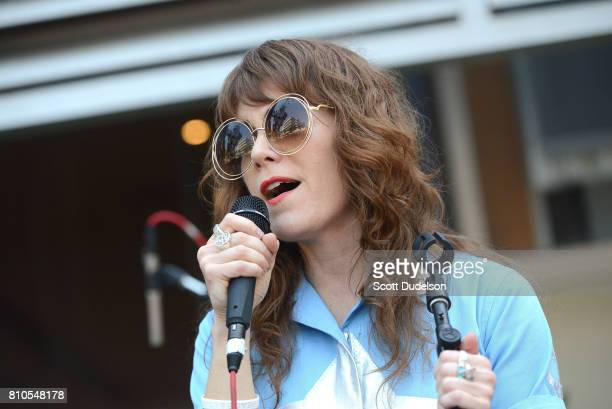 Musician Jenny Lewis performs onstage during Ringo Starr's 77th birthday at the annual Peace Love celebration at Capitol Records Tower on July 7 2017...