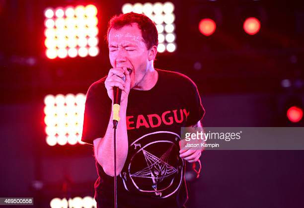 Musician Jeremy Bolm of Touche Amore performs onstage during day 3 of the 2015 Coachella Valley Music & Arts Festival at the Empire Polo Club on...