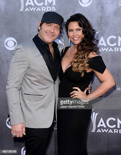 Musician Jerrod Niemann and Morgan Petek attend the 49th Annual Academy Of Country Music Awards at the MGM Grand Garden Arena on April 6 2014 in Las...