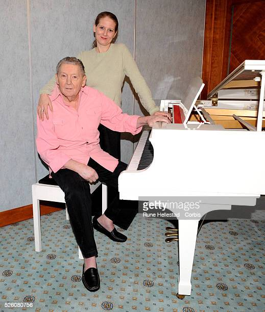 Musician Jerry Lee Lewis and daughter Phoebe Lewis attend a press conference to launch his European Tour at Royal Garden Hotel in London