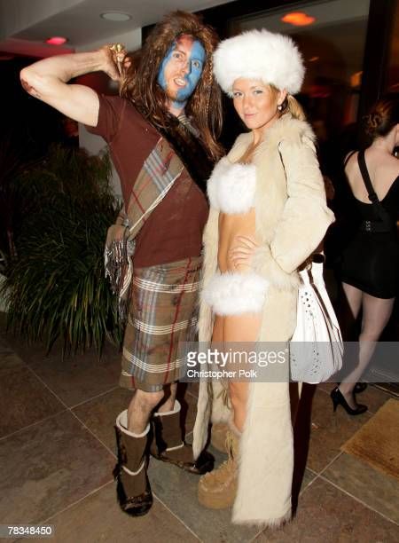 Musician Jesse Carmichael and Sara Kova attend Maroon 5's Halloween Party sponsored by Bacardi on October 31 2007 in Los Angeles California