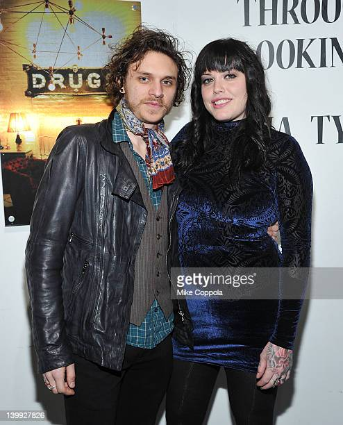 Musician Jesse Kotansky and actress/model Mia Tyler attend the Art Photography of Mia Tyler exhibit at RIFF's WTF Saturday on February 25 2012 in New...