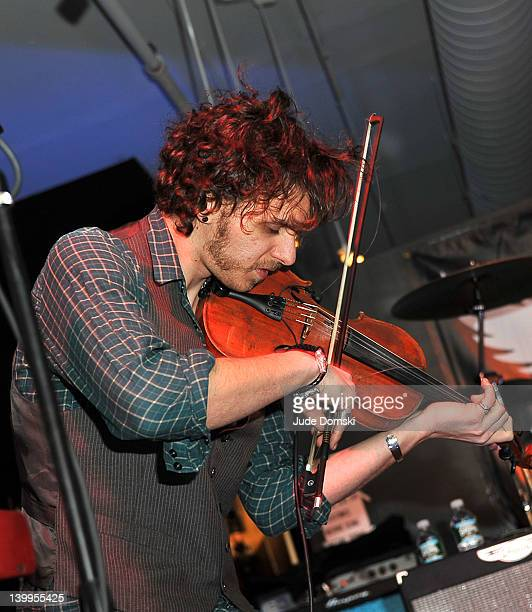 Musician Jesse Kotansky of the band The Click Clack Boom performing at the Art Photographer of Mia Tyler exhibit at RIFF's WTF Saturday>> on February...