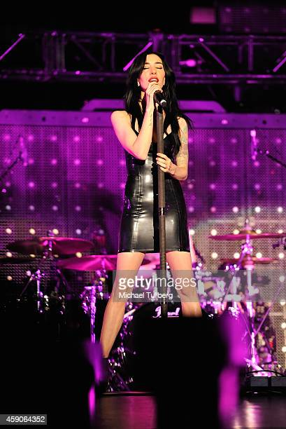 Musician Jessica Origliasso of The Veronicas performs at The Forum on November 15 2014 in Inglewood California