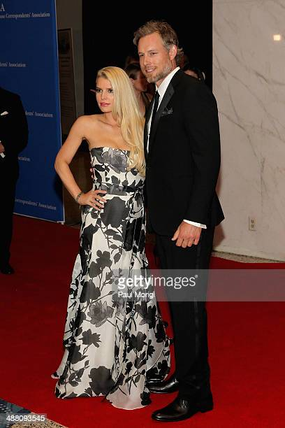 Musician Jessica Simpson and Athlete Eric Johnson attend the 100th Annual White House Correspondents' Association Dinner at the Washington Hilton on...