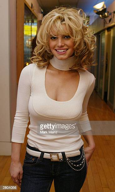 Musician Jessica Simpson appears on MTV's TRL at MTV Studios in Time Square December 11 2003 in New York City