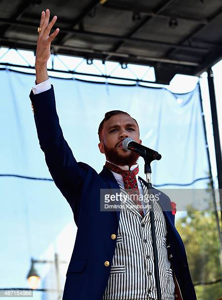 Musician Jidenna performs on stage during 2015 Budweiser Made in America festival at Benjamin Franklin Parkway on September 6 2015 in Philadelphia...