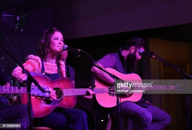 Musician Jillian Jacqueline and Jordan Davis perform for the CMA Songwriters Series during the 2018 Sundance Film Festival at the Sundance ASCAP...