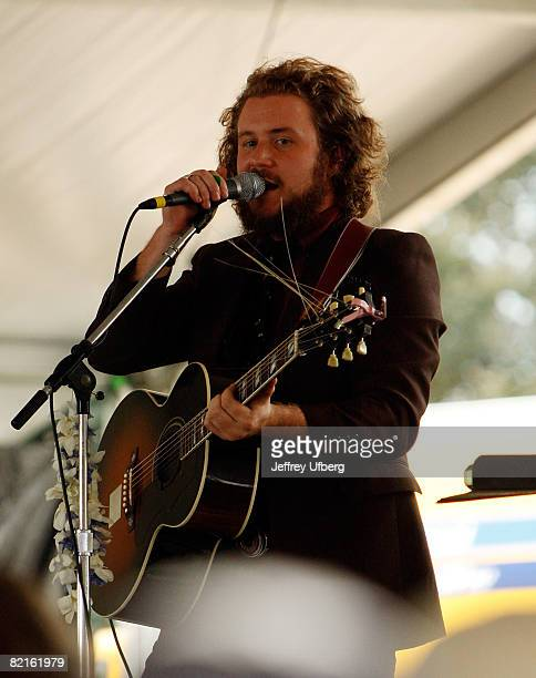 Musician Jim James of My Morning Jacket performs during the 2008 Newport Folk Festival at Fort Adams State Park on August 2 2008 in Newport Rhode...