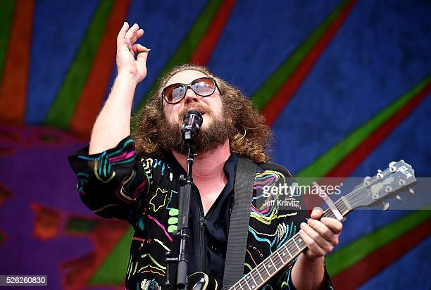 Musician Jim James of My Morning Jacket performs onstage during the 2016 New Orleans Jazz Heritage Festival at Fair Grounds Race Course on April 29...