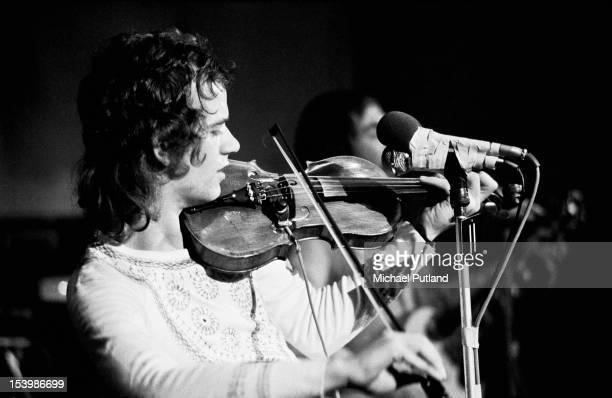 Musician Jim Lea of British rock band Slade recording a song at Command Studios London October 1971