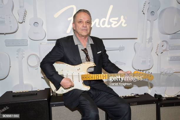 Musician Jimmie Vaughan introduces the Vaughan Brothers Set Fender Stratocaster guitar at the Fender Custom Shop VIP Party at Anaheim Convention...