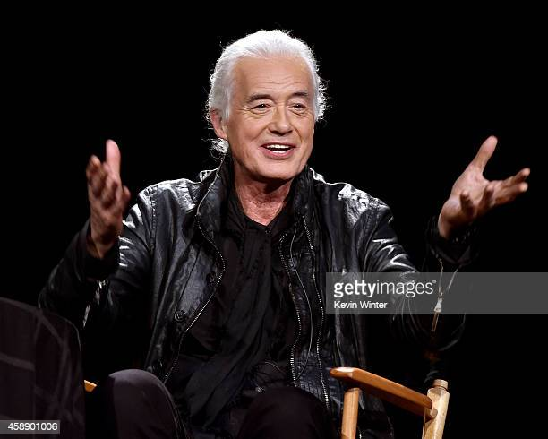Musician Jimmy Page speaks onstage at An Evening With Jimmy Page And Chris Cornell In Conversation at the Ace Hotel on November 12 2014 in Los...