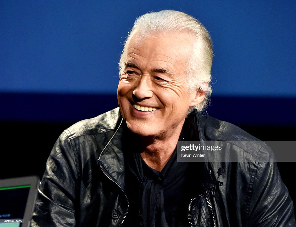 Musician Jimmy Page speaks onstage at 'An Evening With Jimmy Page And Chris Cornell In Conversation' at the Ace Hotel on November 12, 2014 in Los Angeles, California.