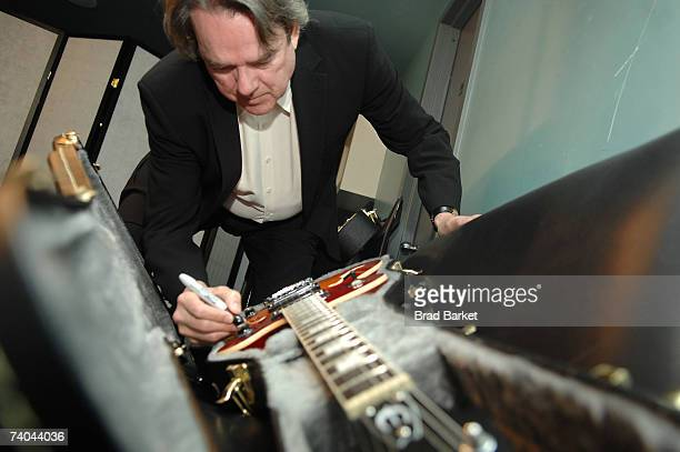 Musician Jimmy Webb signs a guitar at the ASCAP Tribeca Music Lounge held at the Canal Room during the 2007 Tribeca Film Festival on May 1 2007 in...