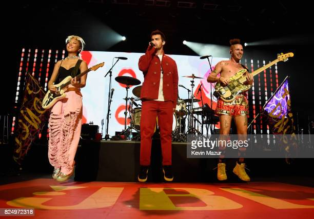 Musician JinJoo Lee singer Joe Jonas and musician Cole Whittle of DNCE perform at JBL Fest an exclusive three day music experience hosted by JBL at...