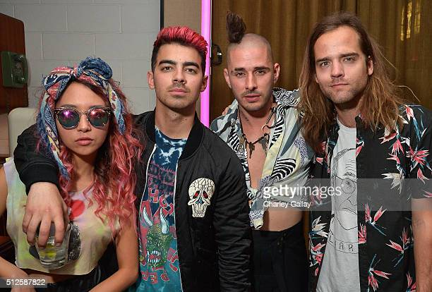 Musician JinJoo Lee singer Joe Jonas Cole Whittle and Jack Lawless of DNCE attend a DJ night hosted by Vanity Fair L'Oreal Paris Hailee Steinfeld at...