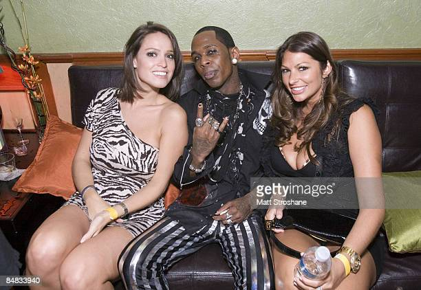 Musician JMello with Playboy Playmates Amber Campisi and Lindsey Vuolo at the RockNBabes Party with Dave Navarro and Playboy Playmates at the Hula...
