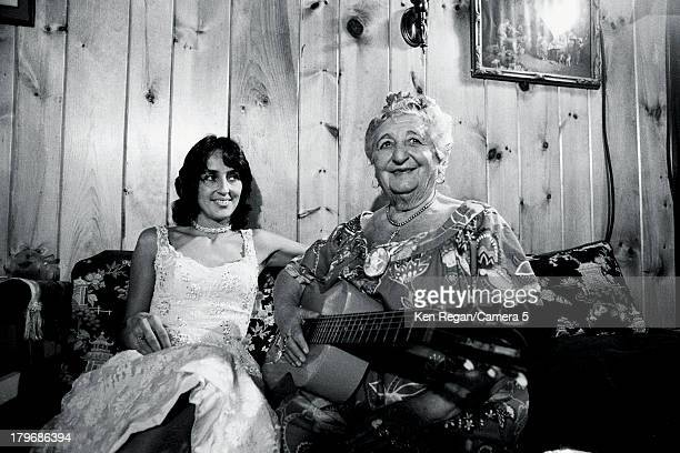 Musician Joan Baez is photographed wim Mama at Dream Away Lodge during the Rolling Thunder Revue in November 1975 in Stockbridge, Massachusetts....