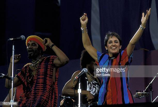 Musician Joan Baez performs at Amnesty International Benefit Concert on June 15, 1986 at Giant Stadium in East Rutherford, New Jersey.
