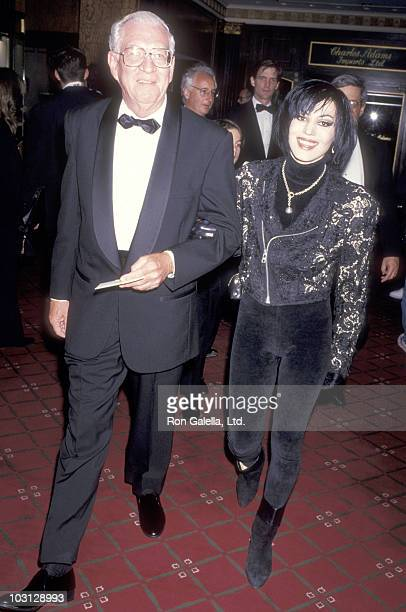 Musician Joan Jett and father James Larkin attend the National Baseball Hall of Fame Gala on May 13, 1993 at The Waldorf-Astoria Hotel in New York...