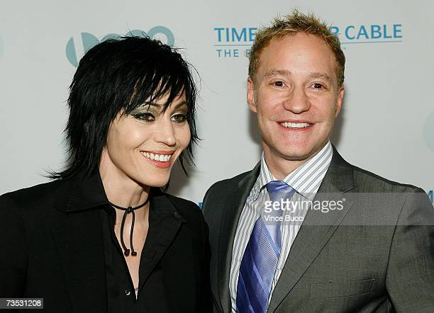 Musician Joan Jett and president of the LOGO channel Brain Graden attend the launch party for MTV Network's LOGO Channel on Time Warner Cable at...