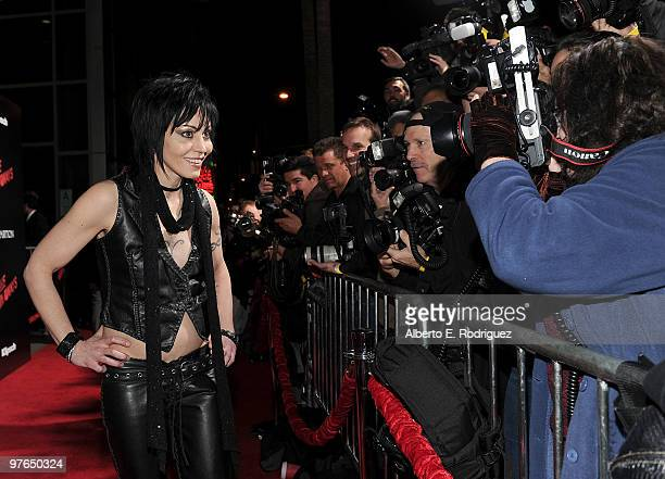 """Musician Joan Jett arrives at the premiere of Apparition's """"The Runaways"""" held at ArcLight Cinemas Cinerama Dome on March 11, 2010 in Los Angeles,..."""