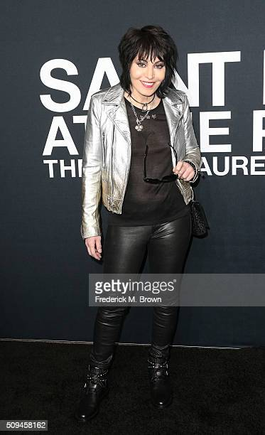 Musician Joan Jett arrives at the Saint Laurent show at The Hollywood Palladium on February 10 2016 in Los Angeles California