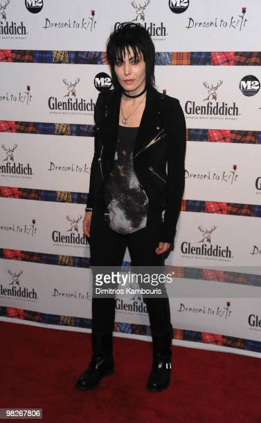 "Musician Joan Jett attends the 8th annual ""Dressed To Kilt"" Charity Fashion Show presented by Glenfiddich at M2 Ultra Lounge on April 5, 2010 in New..."