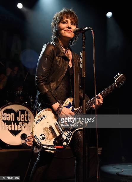 Musician Joan Jett of Joan Jett and the Blackhearts performs onstage during the 2nd Annual National Concert Day presented by Live Nation at Irving...