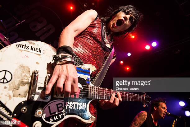 Musician Joan Jett performs at the 6th annual Sunset Strip Music Festival launch party honoring Joan Jett at House of Blues Sunset Strip on August 1,...