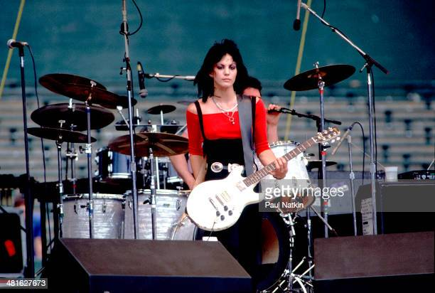 Musician Joan Jett performs at the Comiskey Park Chicago Illinois July 23 1983
