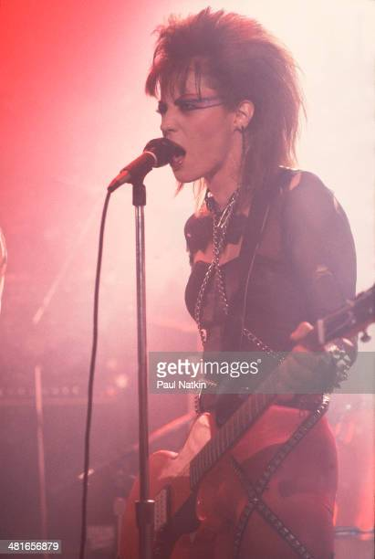Musician Joan Jett performs onstage at the Thirsty Whale bar during filming of the movie 'Light of Day' Chicago Illinois April 7 1986