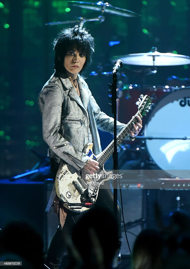 Musician Joan Jett performs onstage with Nirvana at the 29th Annual Rock And Roll Hall Of Fame Induction Ceremony at Barclays Center of Brooklyn on April 10, 2014 in New York City.