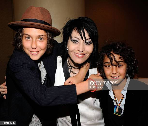 Musician Joan Jett with Musicians Nat Wolff and Alex Wolff of The Naked  Brothers Band backstage