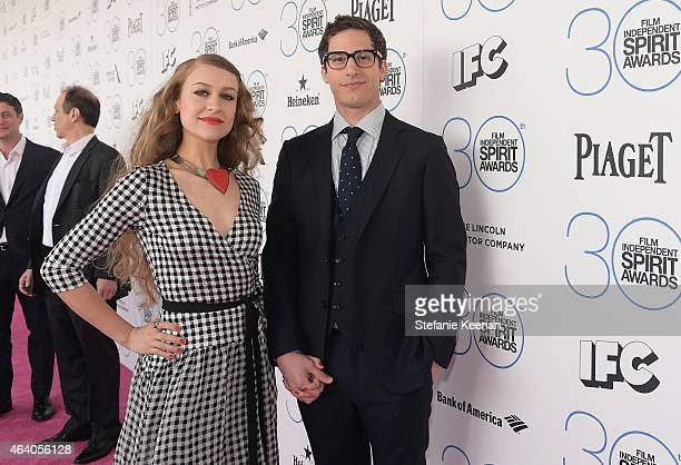 Musician Joanna Newsom and actor Andy Samberg attend the 30th Annual Film Independent Spirit Awards at Santa Monica Beach on February 21 2015 in...