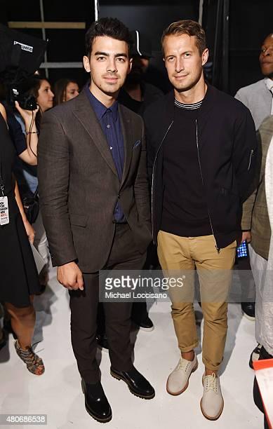 Musician Joe Jonas and DJ Brendan Fallis pose backstage at the Todd Snyder fashion show during New York Fashion Week Men's S/S 2016 at Skylight...
