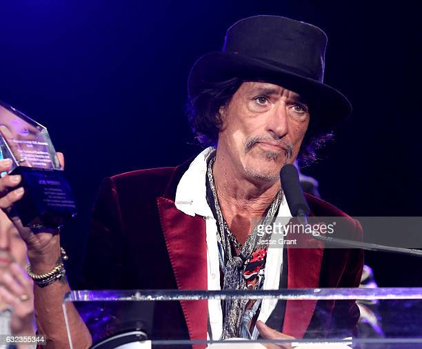 Musician Joe Perry accepts the Les Paul Award onstage at the TEC Awards during NAMM Show 2017 at the Anaheim Hilton on January 21 2017 in Anaheim...