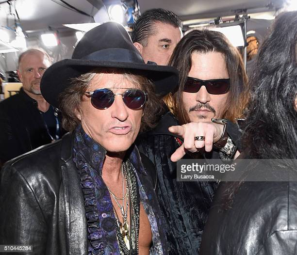 Musician Joe Perry and actor/musician Johnny Depp of Hollywood Vampires attend The 58th GRAMMY Awards at Staples Center on February 15 2016 in Los...