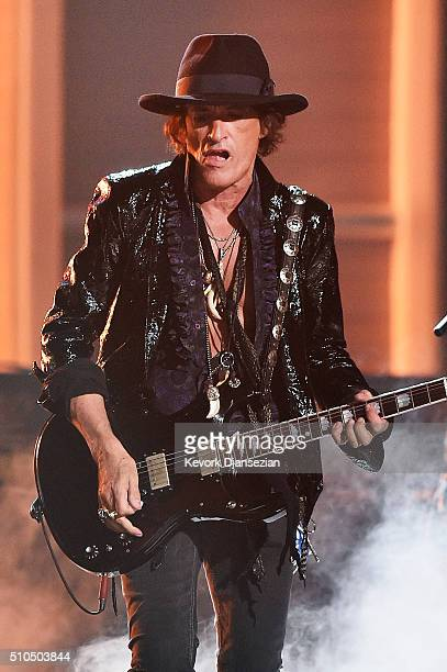 Musician Joe Perry of Hollywood Vampires performs onstage during The 58th GRAMMY Awards at Staples Center on February 15 2016 in Los Angeles...